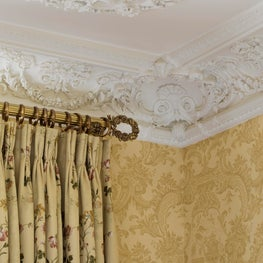 Woodside Estate, Moulded Ceiling & Crown Details, Wallpaper and Draperies