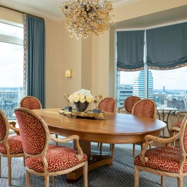 Chic Dining Room with A Great View of the City