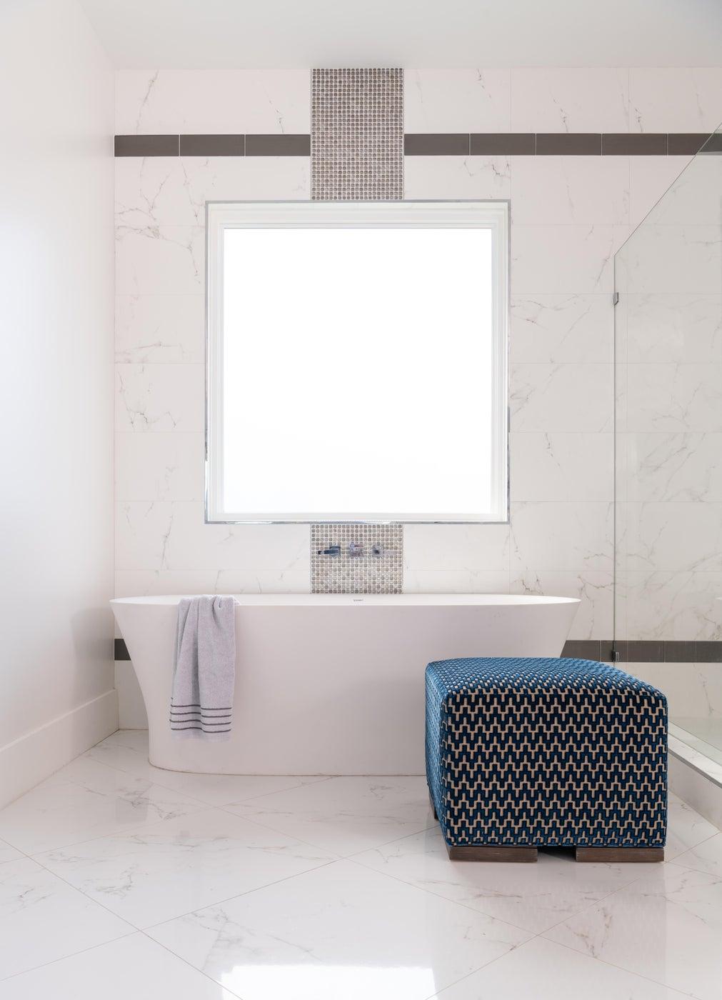 25+ Stylish Bathroom Seating Ideas; NAI was a top 20! Blue zigzag ottman.