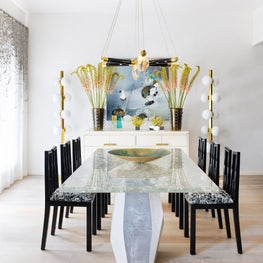 Tribeca Residence, Dining Room Featuring Custom Resin and Plaster Table