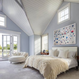 Hamptons Residence Master Bedroom with vaulted wood ceiling.