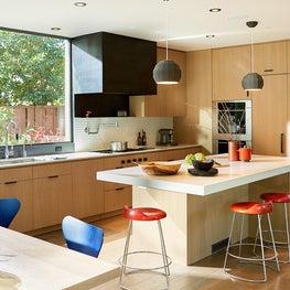 Modern Kitchen, Custom Steel hood, textured backsplash & high end appliances