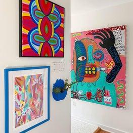 Gallery walls in hallway