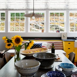 Connecticut Farmhouse, Bright Kitchen with Metallic Ceiling