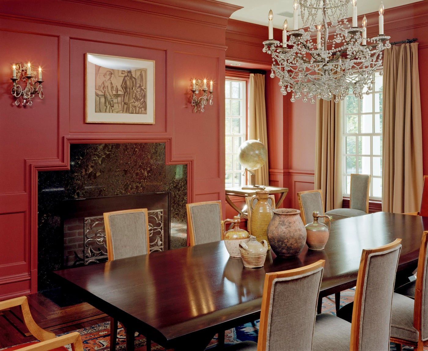 Dining room with dramatic red walls