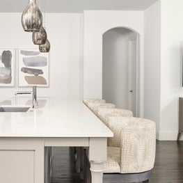 Frisco, TX Kitchen Island with Taupe Crocodile Embossed Leather Barstools