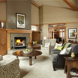 Arts and Crafts living room with pops of green hues