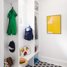 White Mudroom, Cement Floor Tiles