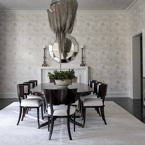 Wallpapered Dining Room