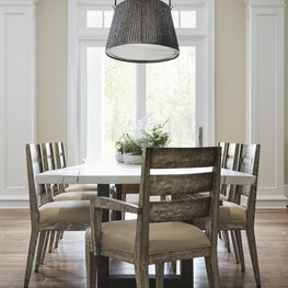 Rustic and Refined Breakfast Room - featuring patinated surfaces and  lighting.