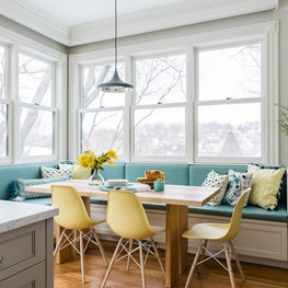 Modern Eat-in kitchen aqua breakfast nook banquette with yellow chairs