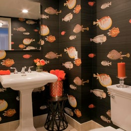 Powder room with Fornasetti Acquario black & multi wallpaper - condo, Delray Beach, Florida