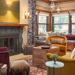 Arts and Crafts living room with colorful, earthy, and global twist