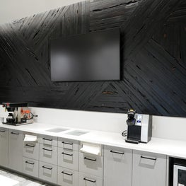 Break Room in an Office Building. Shou Sugi Ban Cedar Wall Panel.