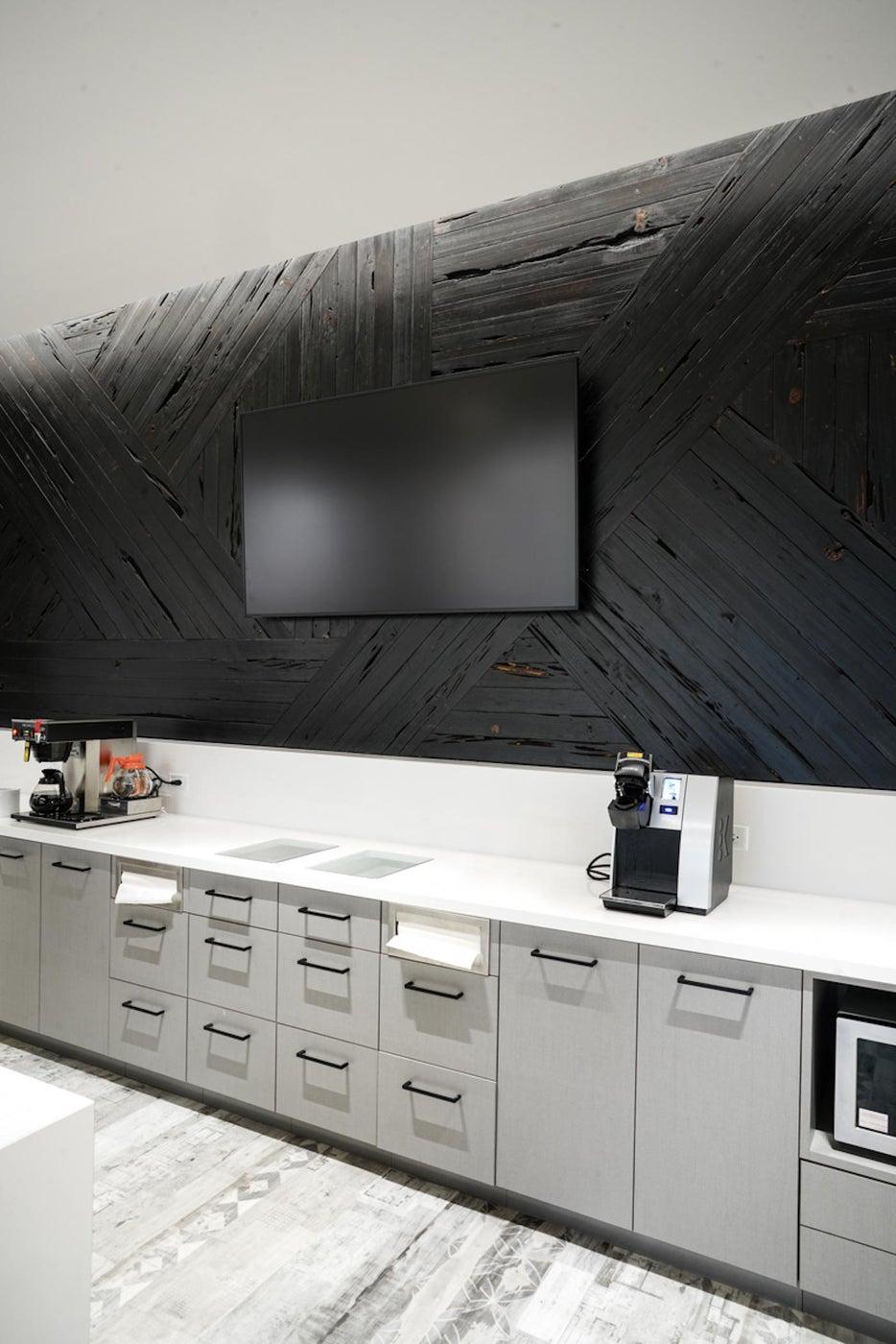 Break Room in an Office Building. Shou Sugi Ban Cedar Wall Panel.