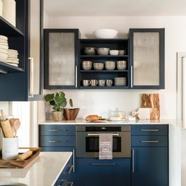 Chesapeake Residence, Kitchen with Navy Blue Cabinetry and Quartz Countertops