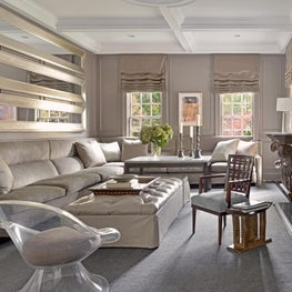 Family room luxe with gold accents