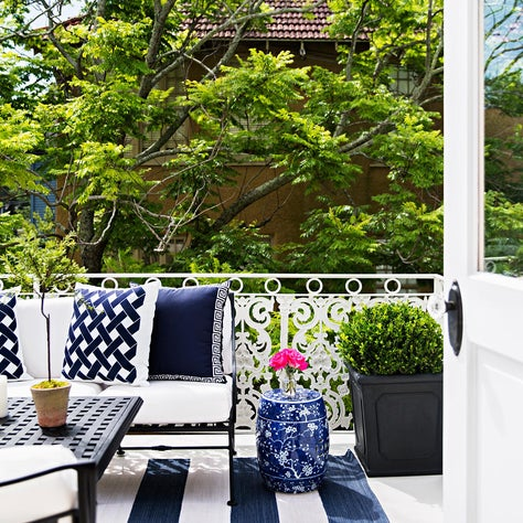 New Orleans Blue and White Garden Terrace, Stripes, Greek Key, Boxwoods