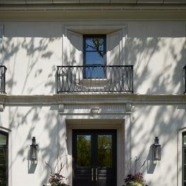Winnetka New Construction Home Entry, Walnut & Glass Doors & Custom Ironwork