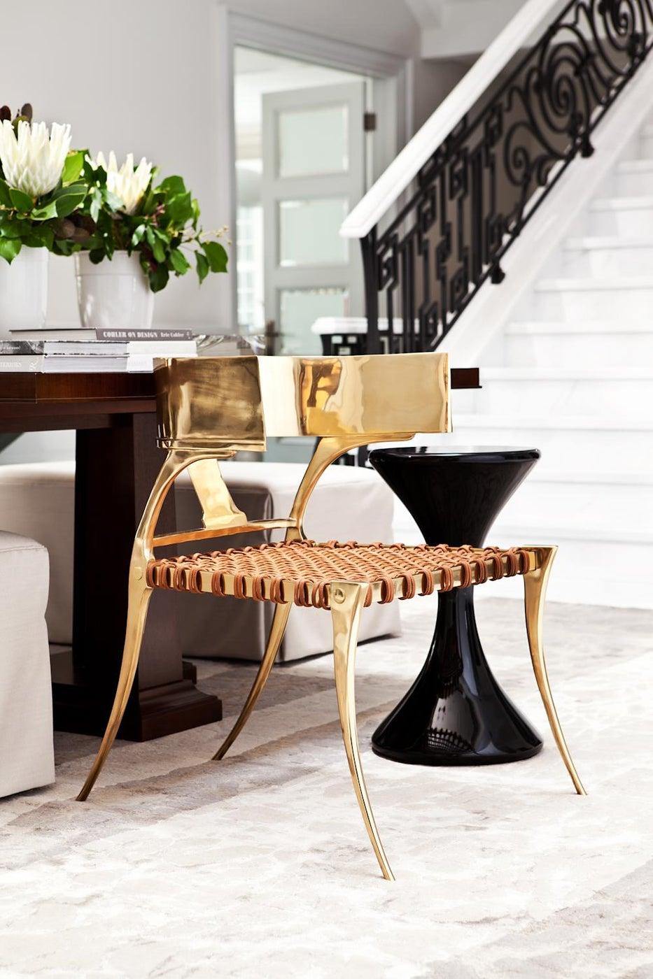 Klisomos Chair in the Stair Hall designed by Elizabeth Metcalfe Interiors & Design Inc.
