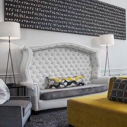 Ben Moore Dove White, Custom Sofa, Visual Comfort Lighting, Wainscotting, Trim