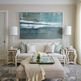 This light airy contemporary room has a classic ambiance created by traditional elements.