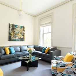 Family Room for a restored townhouse in New York City.