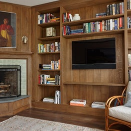 Built in bookshelves in family room.