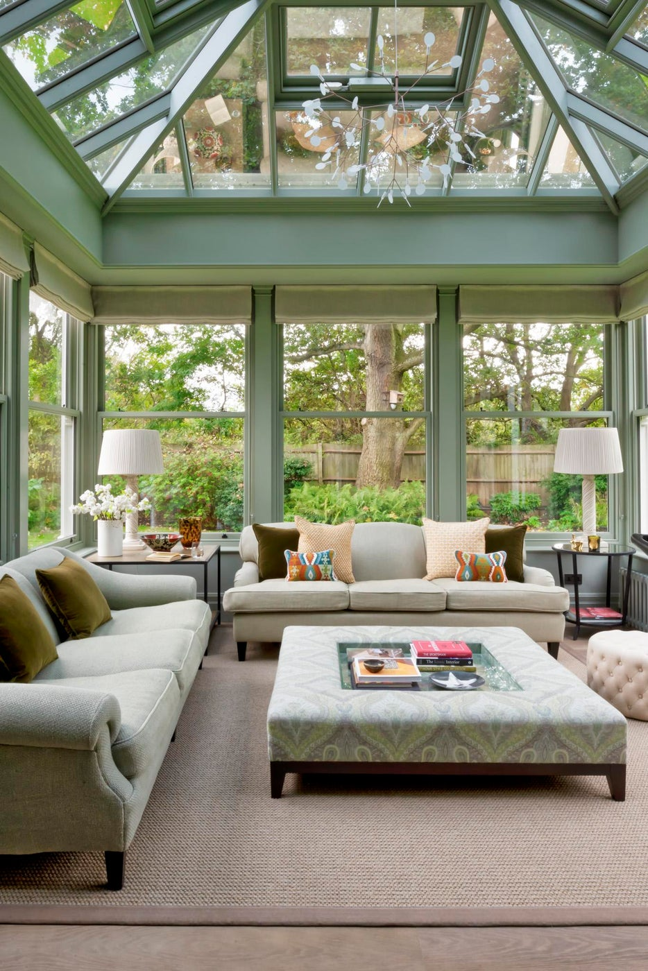 Barnes, London - Conservatory with bespoke upholstered furniture and blinds