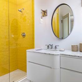 Modern bath in Key Largo, Florida with dimensional tile in bright beach tone.