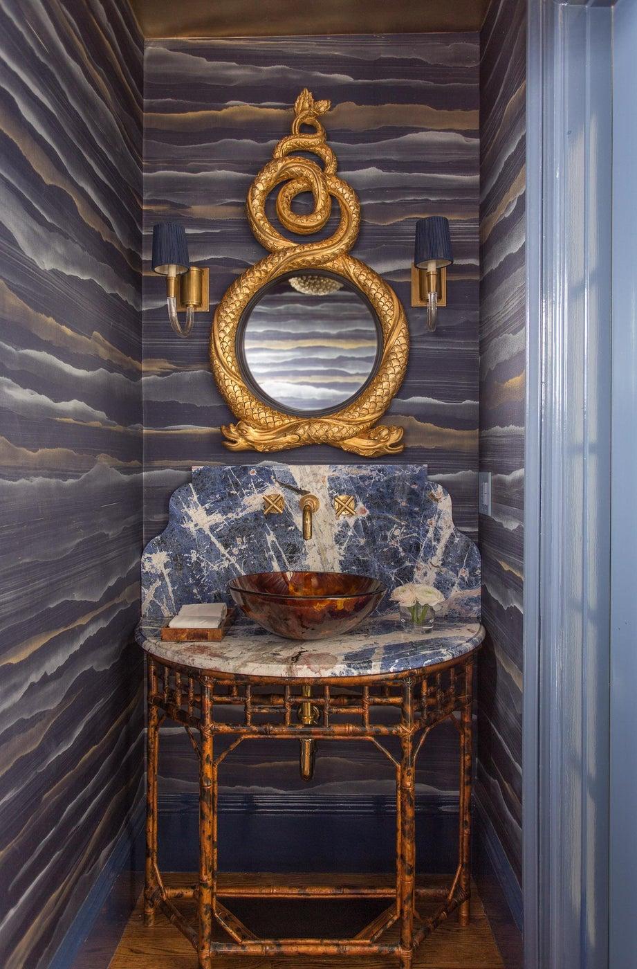 Silk Fromental Walled Powder Room with Gilt Mirror and Custom Tortoiseshell Vanity