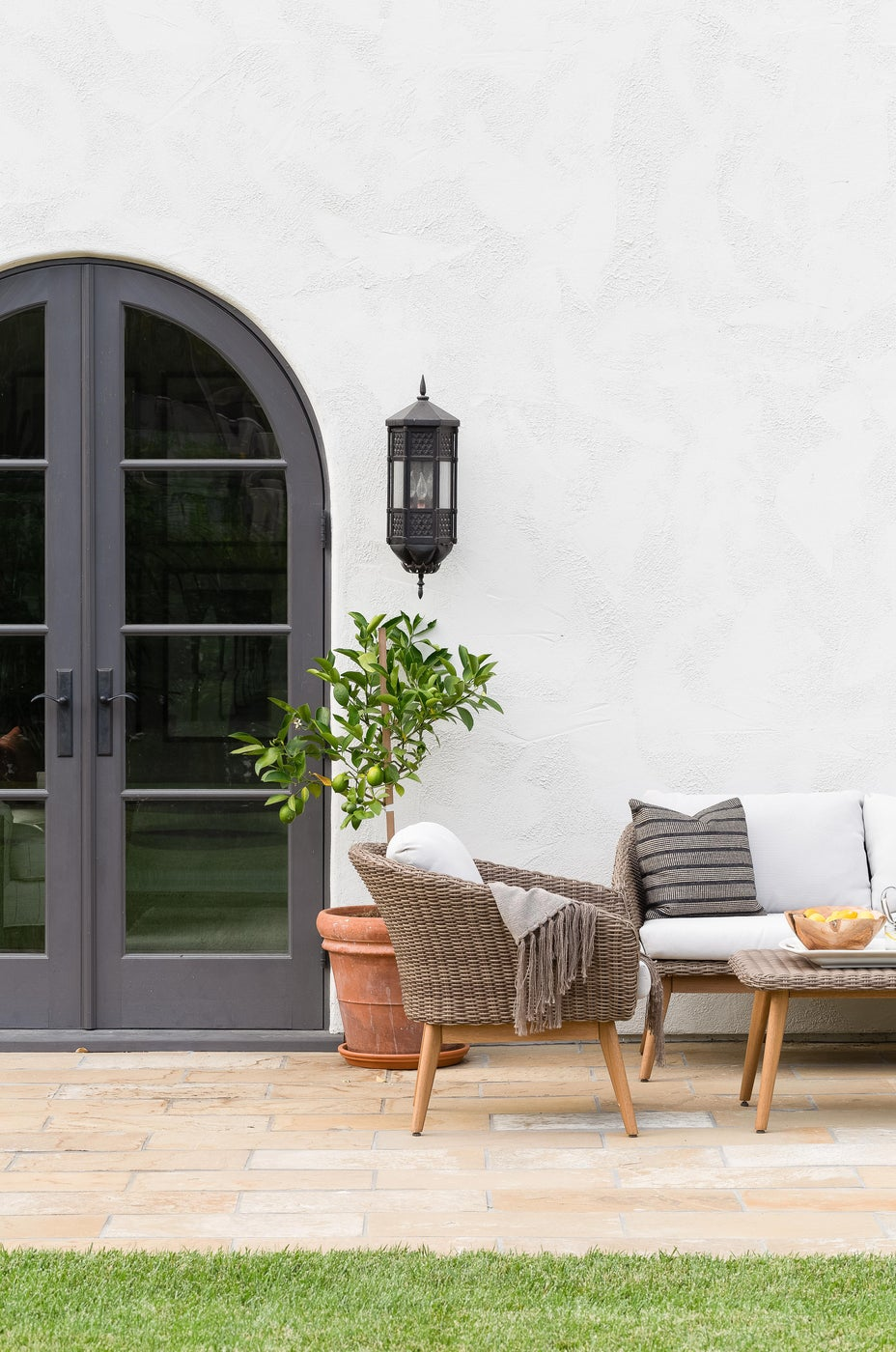 Transitional California Spanish Revival Outdoor Living Space