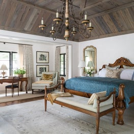 Master Bedroom With Paneled Tray Ceiling