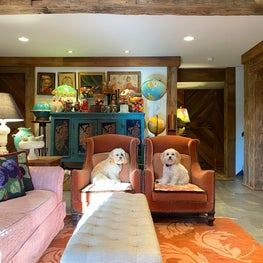 Rustic Northwoods Family Room with Pups