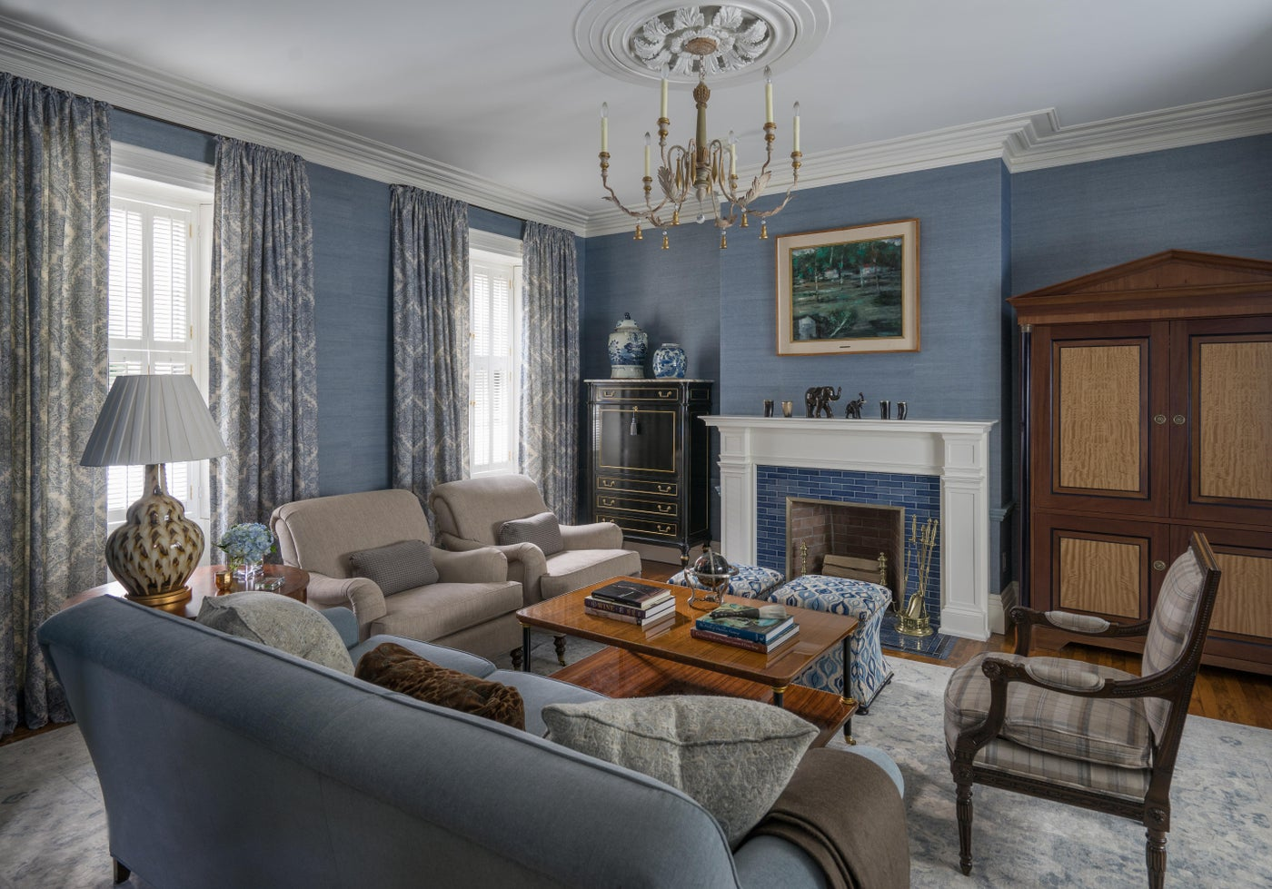 Beacon Hill Family Room with Grasscloth Walls and Swedish Chandelier