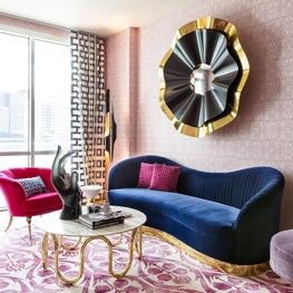 Bold Magenta + Navy + Gold + Black Living Room