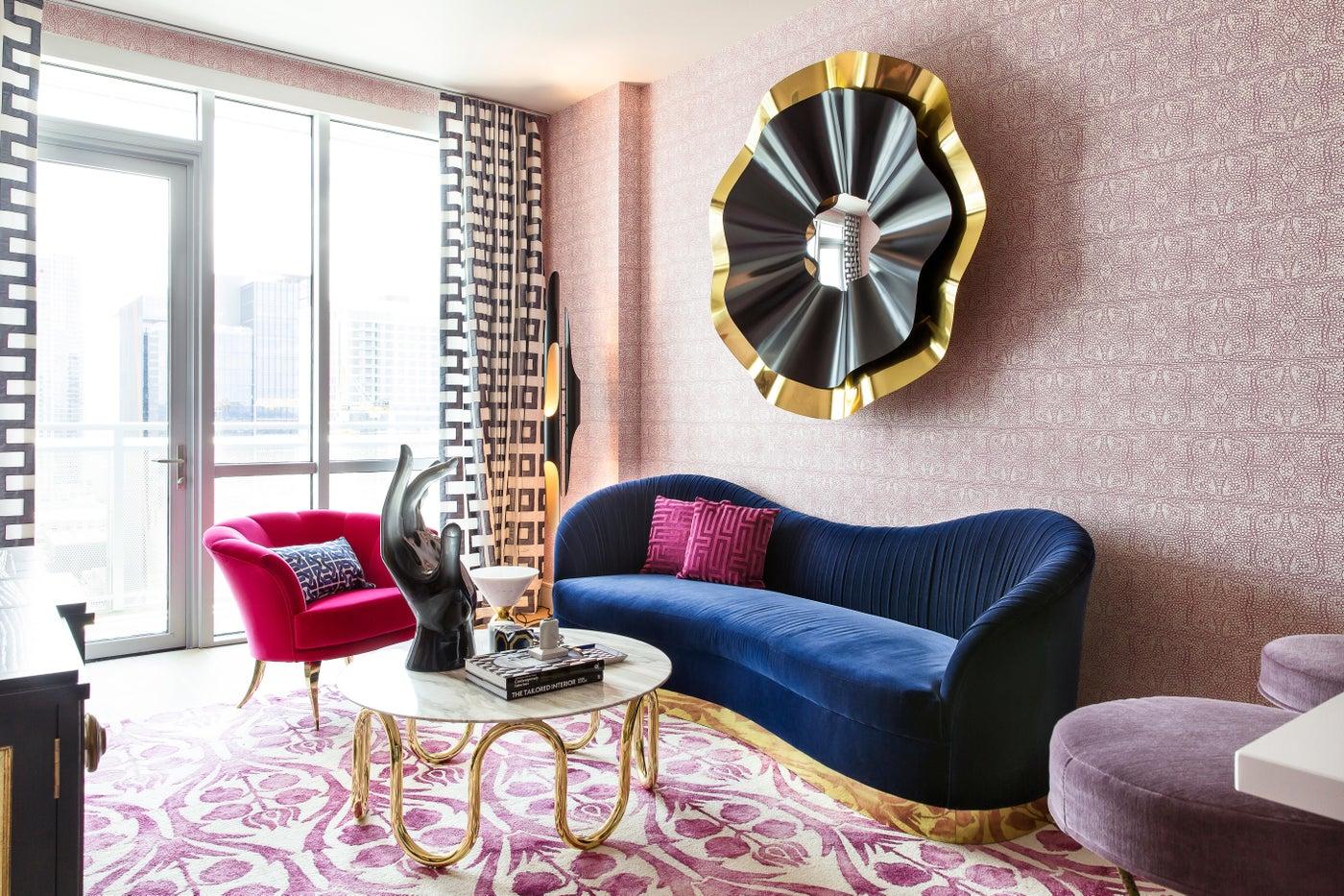 Bold Magenta + Navy + Gold + Black Living Room