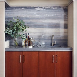 Springs Residence, Wet Bar with Waterfall Marble Backsplash