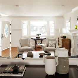 White Sofa and Black and White Chairs in a North San Mateo Residence