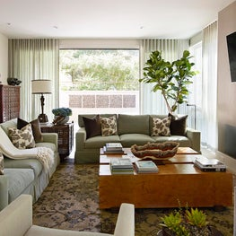 Basement Family Room with exterior view in Atherton home