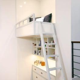 West Village Triplex Kids Bunk Play Area with bookshelves, loft, desk, ladder