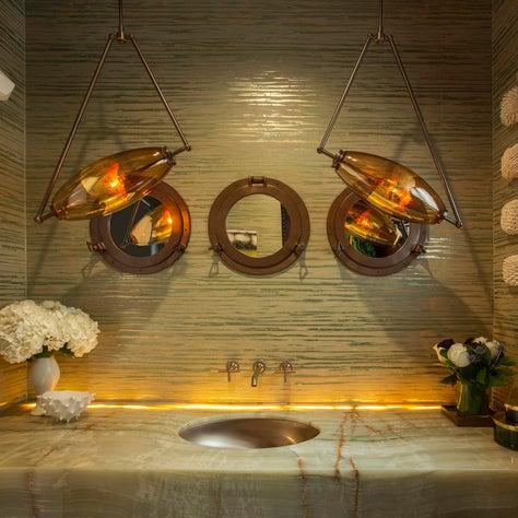 Blown glass pendants over custom vanity