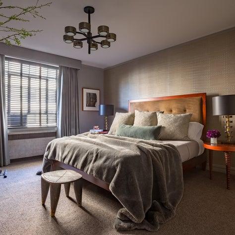 Moody Master Suite, Statement Chandelier, Antique Furniture, Italian Murano Lamp