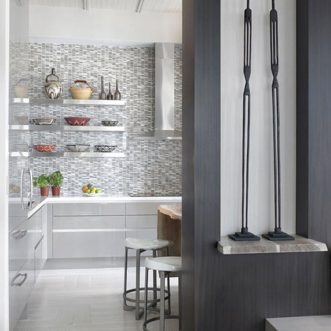 Modern, Ethnic kitchen with mosaic backsplash
