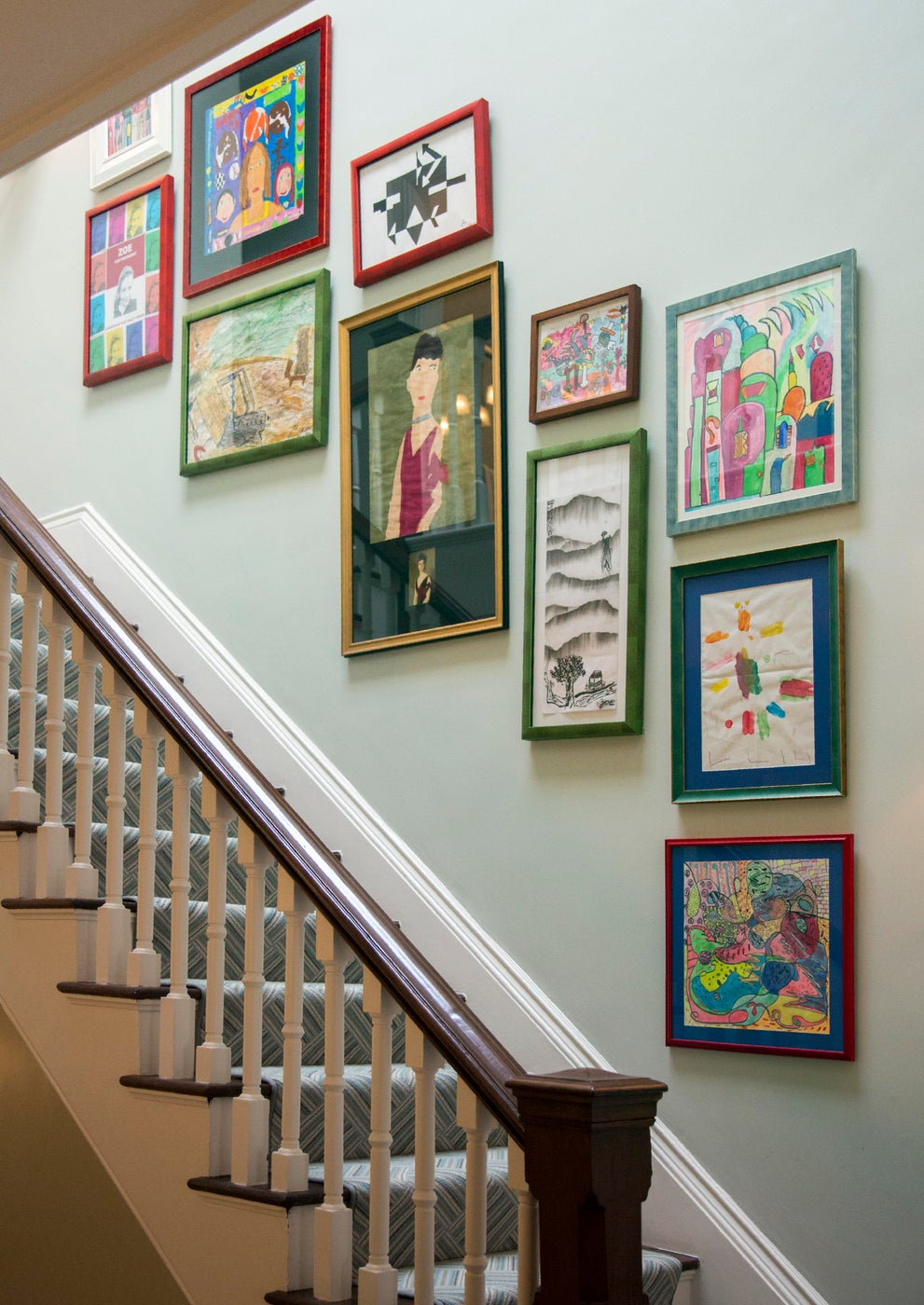 Children's Gallery Wall in Back Bay Brownstone Staircase