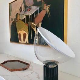 Taccia lamp and vintage 1930s Art Deco tray sit atop custom buffet plinth