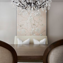 Toronto Residence Dining Room with Millennial Pink Chinoiserie Fabric Panel