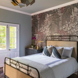 Guest Bedroom with accent custom wallpaper