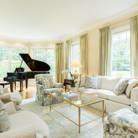 New Canaan CT Formal Living Room, Bay Windows with Silk Stripe Drapery Panels in Colefax & Fowler fabric, Modern Oriental and Gilt & Glass Coffee Table, Black Laquer Grand Piano