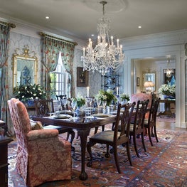 Formal Dining Room with Antique Rug & Chandelier by Diane Burgoyne Interiors